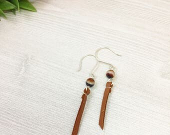 Fire Agate Earrings with Light Brown Leather Tassels >> Natural Stone Jewelry >> Agate Stone >> Nature Bohemian Earrings >> Gifts For Her