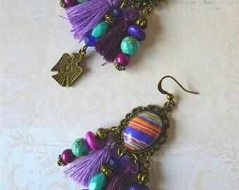 "Ethnic-Bohemian earrings ""Linda"" gemstones, bronze metal cabochons, pom poms, Eagle"