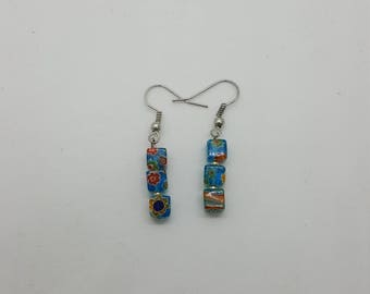 Blue square earrings (ER010)