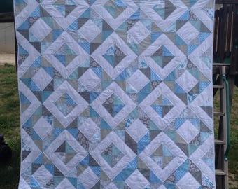 Diamonds Quilt-Blue/Grey