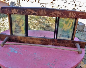 Antique Mirror, Hand carved Wooden Frame with Towel Rack