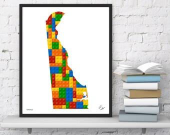 Delaware Lego State Map   Kid Bedroom Wall Art