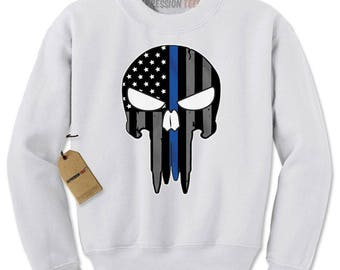 Police Thin Blue Line Skull American Flag - Support Police Departments Adult Crewneck Sweatshirt