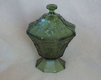 Vintage Green Glass Compote; Green Glass Candy Dish
