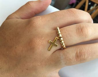 Ring gold goldfilled cross