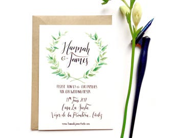 Simple and elegant hand-drawn wedding invitations, typography, watercolour, wreath