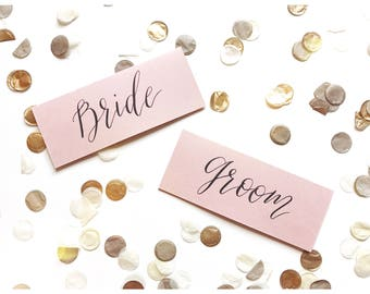 Dusty pink name cards, calligraphy, wedding, table decor