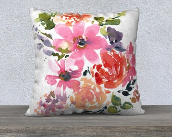 Watercolor Pillow Cover - Flower Pillow Covers - Pillow Cover with Zipper, Watercolor Floral Pillow, 18 x 18 Pillow Cover, 22 x 22