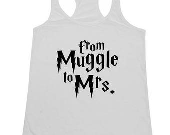 ON SALE - From Muggle to Mrs. - Ladies' Tank Top funny wedding gift tank