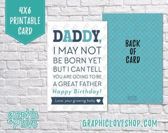 Printable Daddy, Happy Birthday Card/Postcard | 4x6 Digital JPG File, Instant Download