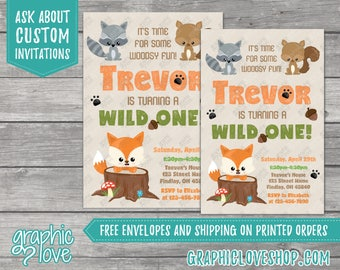Woodland, Wild ONE Personalized Birthday Invitation | 4x6 or 5x7, Digital File or Printed