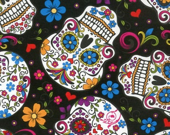 Folkloric Skulls Fabric Collection - Black Folkloric Skulls Fabric from David Textiles - Listed by the Half Yard, Day of the Dead Fabric