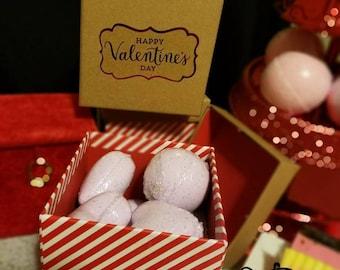 Valentine's Day Gift Set - 6 Mini Bath Bombs, 2 Handmade Soaps