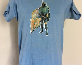 Vtg 1980 Star Wars Boba Fett Iron On T-Shirt Blue S 80s Empire Strikes Back Movie