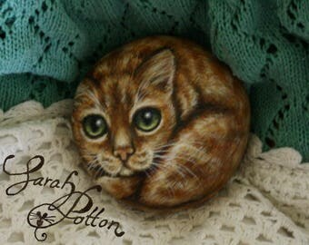 Cat Rock Painting ~ Ginger Tabby Cat with Green Eyes on a Stone