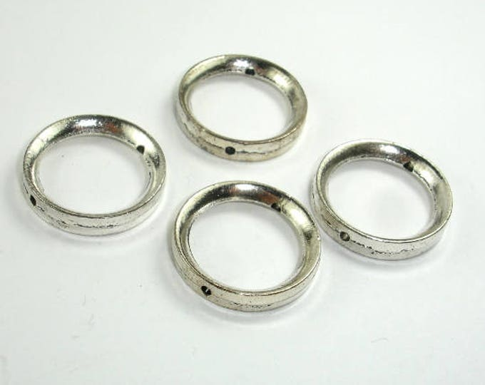 Metal Rings, Metal Spacer-Bead Frame, Zinc Alloy, Antique Silver Tone, 24x4mm, 10 pcs, Hole 1.7mm (006869009)