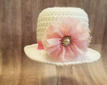 Crochet baby girl hat - Newborn Easter Bonnet - Baby Easter Hat - Crochet Bonnet - Baby Girl Hat - Spring Baby -Easter Hat - Sun Bonnet