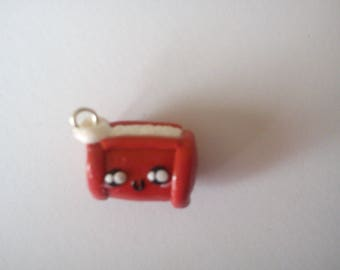 1 charm polymer clay little red pouch