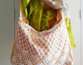 Crochet Festival Bag, Large Yellow and White Over-sized Slouchy Bag, Handmade Upcycled Bag, Eco Bag, Bohemian Bag, Boho Style