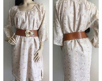 Vintage Organza Kaftan Dress with Sheer Sleeves in Sparkly Organza Skirt - L/XL