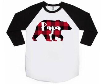 Papa Bear - Buffalo Plaid Shirt - Unisex Adult Raglans -  Lumberjack Shirt - Plaid Bear - Daddy Bear Shirt - Family  Shirts - Bear Shirts
