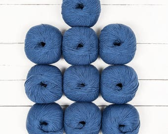 Millamia Naturally Soft Merino 6.50 +.95ea to Ship - TEMPEST Blue 167 + Free Patterns Shown. Soft Squishy, Forgiving, Sharp Even Definition.