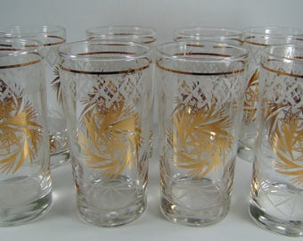 Starburst, Pinwheel Gold and Etched Glass Highball Drinking Glasses, Tumblers, Set of 8