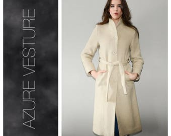40s Style, Minimalist Coat. XS Small.   Winter Coat, 1940s, 1970s Coat, Retro 70s