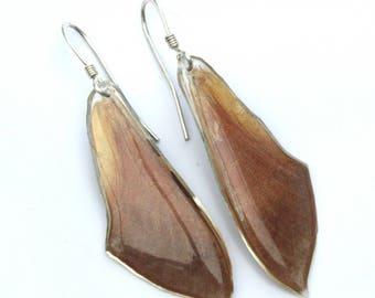 Hawk Moth Wing Earrings on sterling silver fish-hook earwires