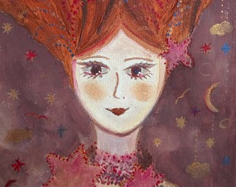 Celeste and stars character portrait canvas 20 x 20
