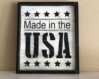 "Made In the USA Sign, Rustic Patriotic Sign, Farmhouse Sign, 11""W x 12.5""H"