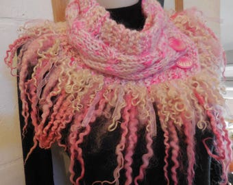 Lovely with handspun wool neck warmer