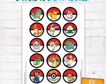 Pokemon Cupcake Toppers Pokemon Go Labels Birthday Party Stickers Decorations Printables Supplies INSTANT DOWNLOAD Digital File