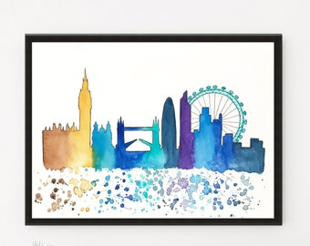 London, Original Skyline, Watercolor painting Travel Illustration, Architecture Illustrator, Wall art Home Decor, Holiday gift