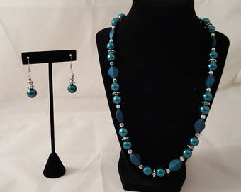 Blue Pearl Necklace - Blue Pearl Earrings - Blue Pearl Jewelry Set - Blue Acrylic Diamond Necklace - Blue Necklace - Blue Earrings - Blue