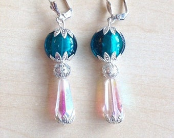 Earrings blue and white Crystal beads