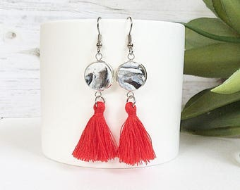 Tassel earrings red tassel earrings, tassel drop earrings, tassel dangle earrings handmade by rubybluejewels