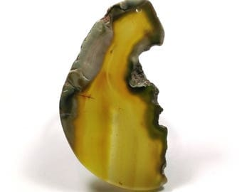 Slice of natural agate - agate, yellow/khaki - 84 X 46 mm - AG3929/H149