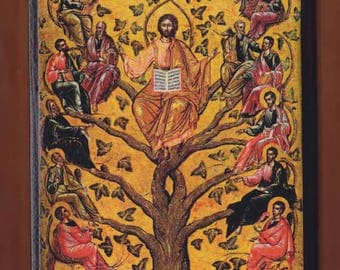 Eastern Orthodox icon of Jesus Christ as the True Vine,16th century Byzantine icon in the Byzantine Museum of Athens.FREE SHIPPING