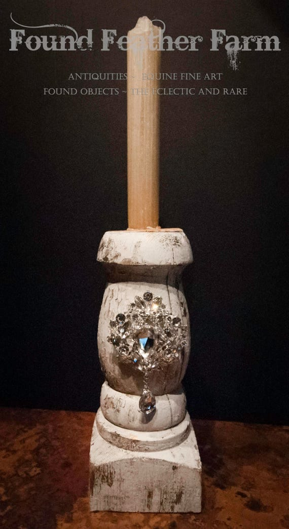 Antique Balustrade Candlestick with Rock Crystal Jewel Embellishments and a Beeswax Candle