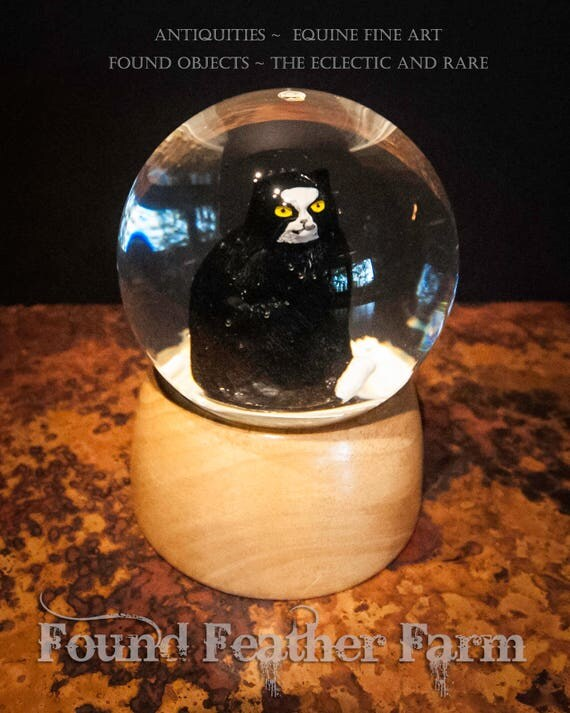 Vintage Black and White Tuxedo Cat Snow Globe