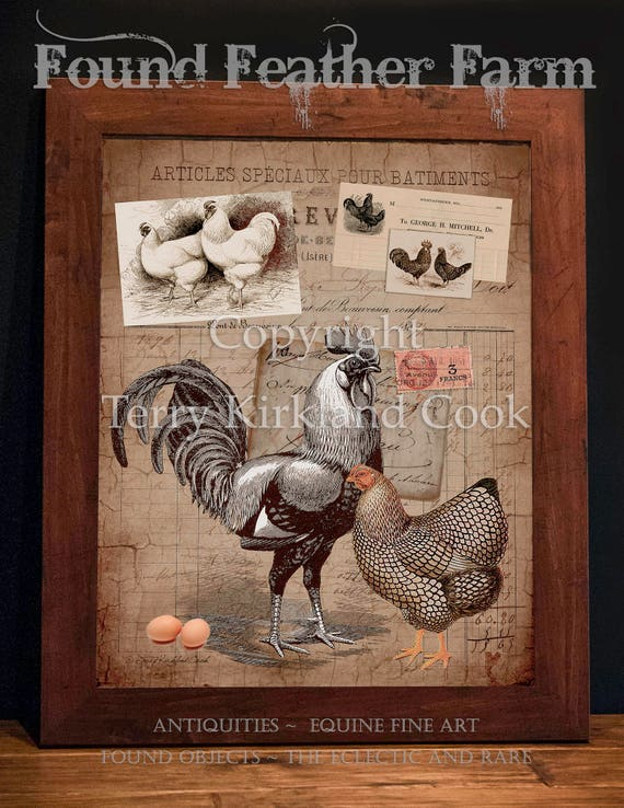 "Cluck Cluck Chicken ~ Original Vintage Art Collage 20"" x 24"" Framed Giclee Print"