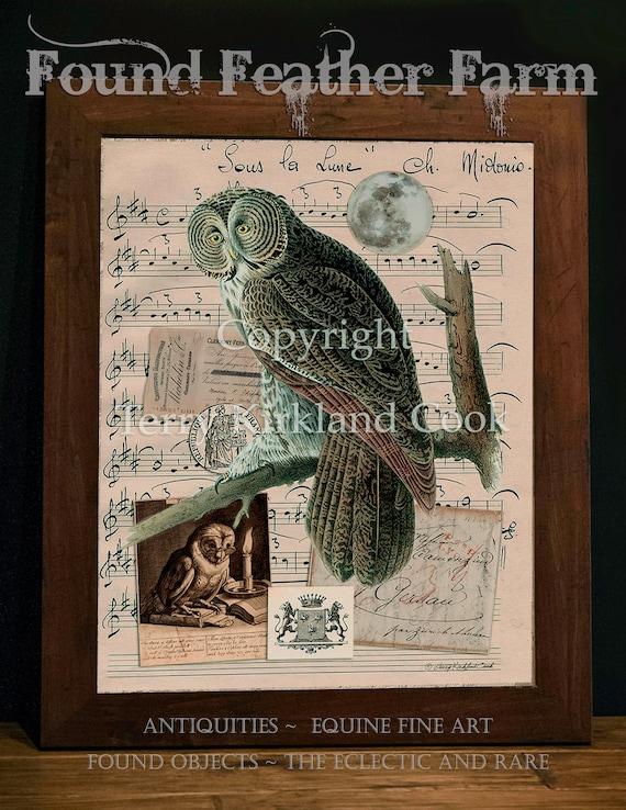 "Under The Moon ~ Original Vintage Art Collage 20"" x 24""Framed Giclee Print"