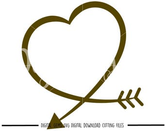 Heart Arrow svg / dxf / eps / png files. Digital download. Compatible with Cricut and Silhouette machines. Small commercial use ok.