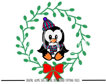 Penguin and wreath svg / dxf / eps / png files. Digital download. Compatible with Cricut and Silhouette machines. Small commercial use ok.