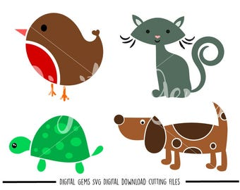 Cat, Dog, Bird, Turtle svg / dxf / eps files. Digital download. Compatible with Cricut and Silhouette machines. Small commercial use ok.