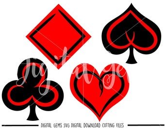 Playing Card Symbols svg / dxf / eps / png files. Digital download. Compatible with Cricut and Silhouette machines. Small commercial use ok.