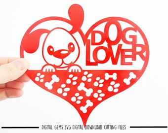 Dog lover paper cut svg / dxf / eps / files and pdf / png printable templates for hand cutting. Digital download. Small commercial use ok