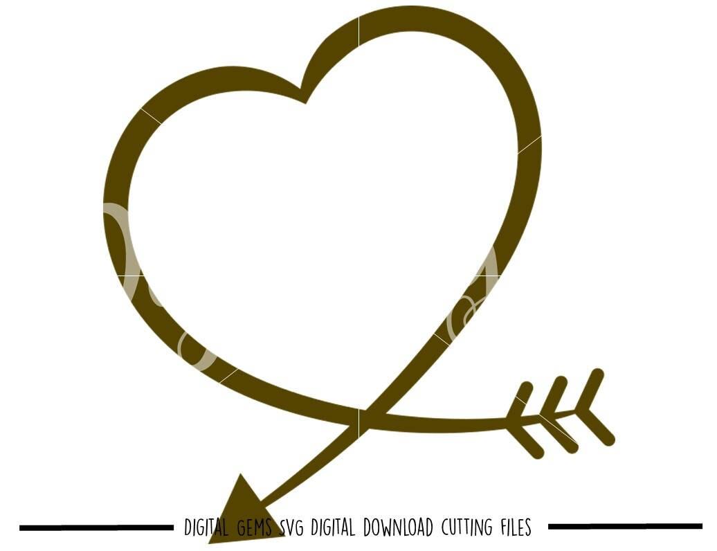 heart arrow svg dxf eps png files digital download. Black Bedroom Furniture Sets. Home Design Ideas
