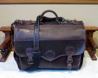 Spring Sale Reserved for M- Santa Fe Briefcase by Dilana Mahogany Leather Multi Compartment Laptop IPad Carrier - Very Good Condition